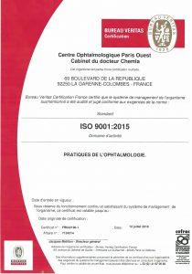 Certification du Centre Vision Laser Paris Ouest par le bureau VERITAS